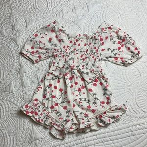 Jessica Simpson red floral smocked romper